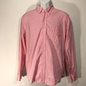 J Crew Light Weight Pink Gingham Shirt Slim Fit